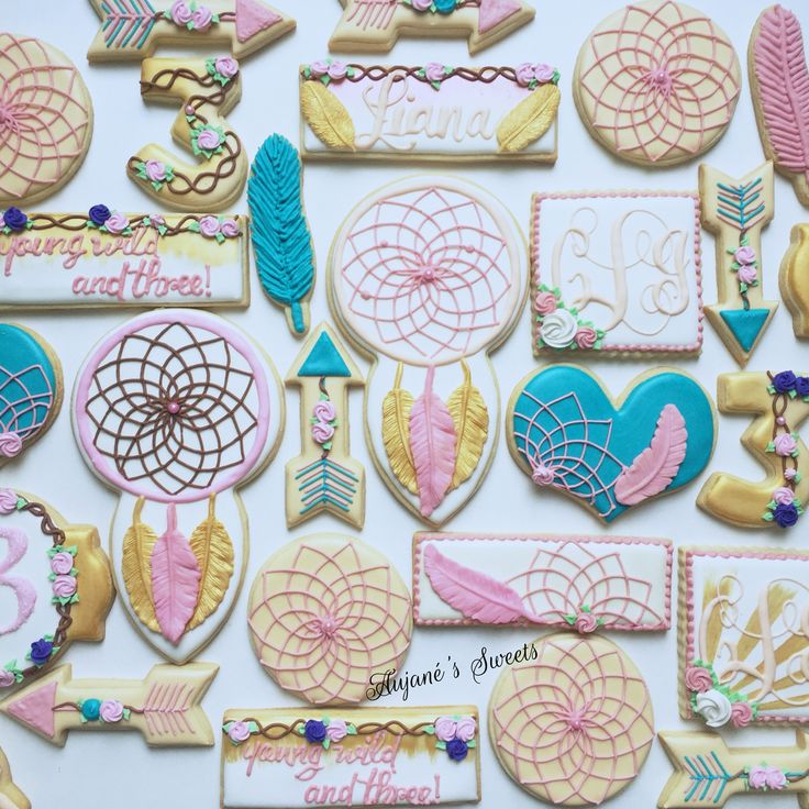 Boho inspired sugar cookies! Young wild and three