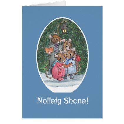 Cute Mice Carol Singers Irish Gaelic Greeting Card - family gifts love personalize gift ideas diy