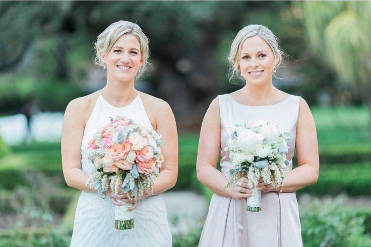 peach spring wedding bouquet