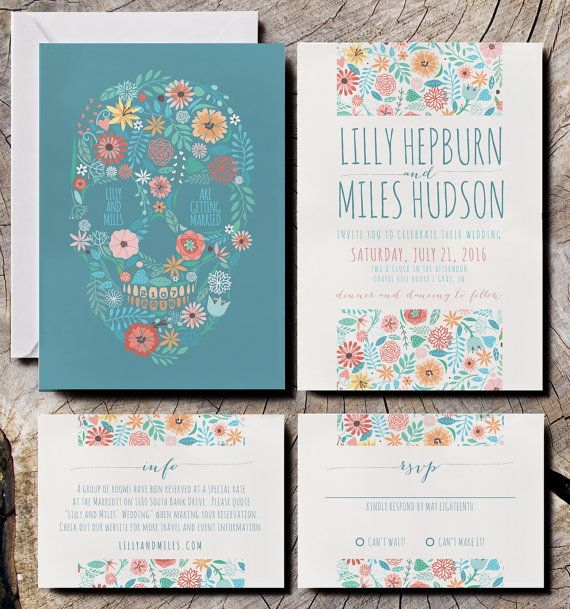 A modern Mexican sugar skull design with a pastel floral wedding invitation theme.  http://katiebarnesstudio.etsy.com/