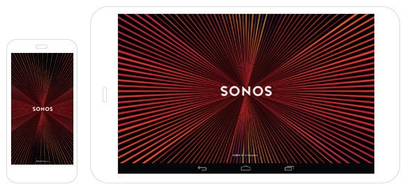 Sonos app screens for smart phone and tablet