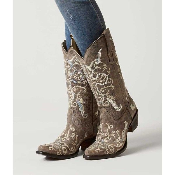 Corral Embroidered Cowboy Boot - Brown US 10 ($200) ❤ liked on Polyvore featuring shoes, boots, brown, tall cowgirl boots, western boots, brown cowboy boots, sequin cowboy boots and embroidered boots
