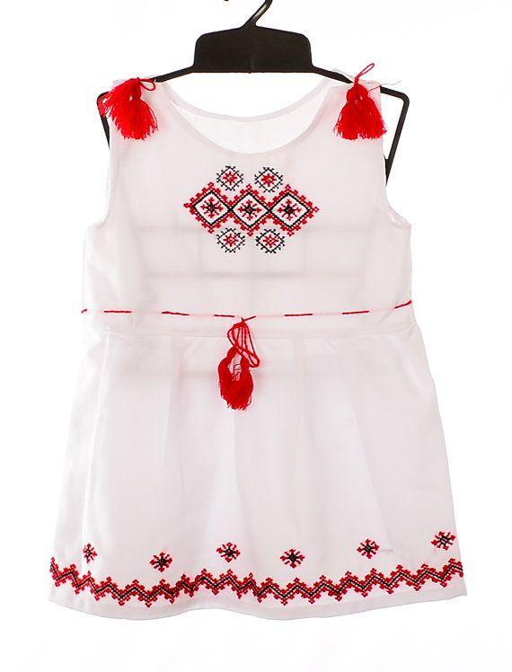 Ukrainian Hand Embroidered Girl's Dress Sorochka Vyshyvanka Traditional Folk Ethnic National Clothing Embroidery (art. 860)