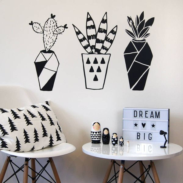 Parkins Interiors Geometric Cactus Wall Stickers ($36) ❤ liked on Polyvore featuring home, home decor, geometric home decor and cactus home decor