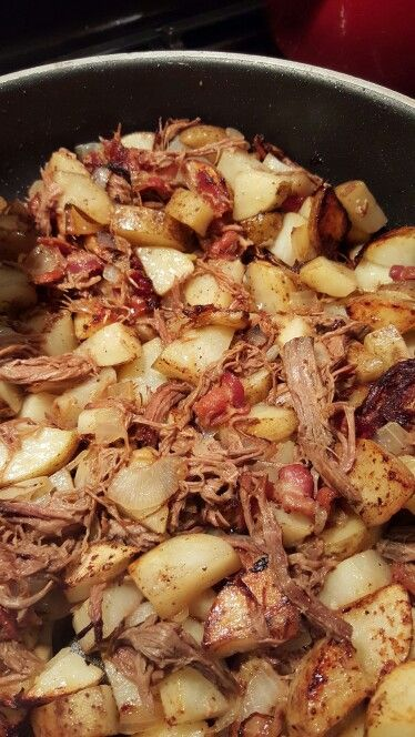 Hillbilly hash! Diced potatoes Diced onion And ANY left over meat from frig (this is roast beef, bacon, & pork chops!) Fry it all up in a skillet.