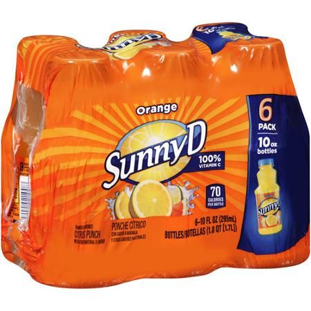 Sunny D Orange Citrus Punch, 10 fl oz, 6 count