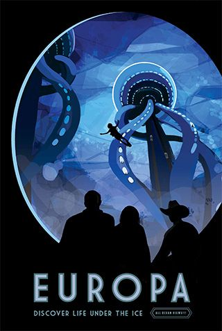 "Europa - JPL Travel Poster from ""Visions of the Future"" by Jet Propulsion Laboratory of NASA"