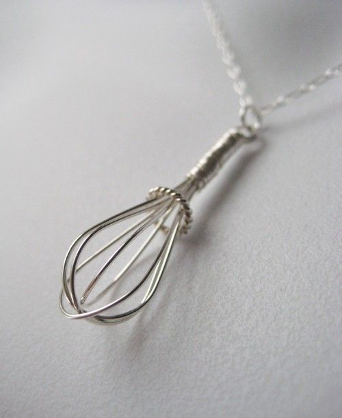wire whisk handmade sterling charm necklace