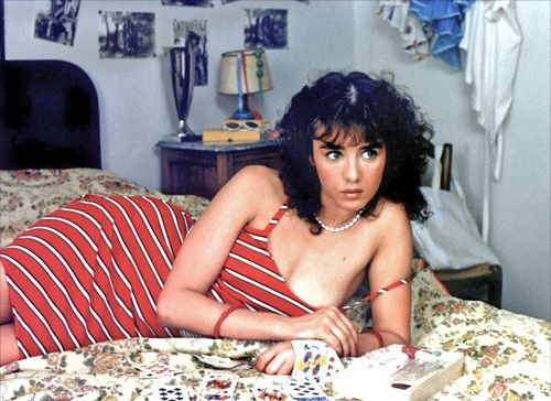 ISABELLE ADJANI in ONE DEADLY SUMMER (l été meurtrier, 1983). The usually serious actress threw caution to the wind (along with all or most of her clothes) to cavort around in grand femme fatale style in this pseudo-artsy French exploitation potboiler. If there is a sexier display by any actress in film history, I'd like to know what it is.