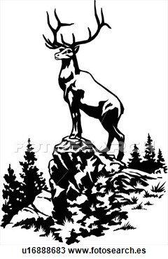 Clipart of illustration, lineart, animal, elk, deer u16888683 ...