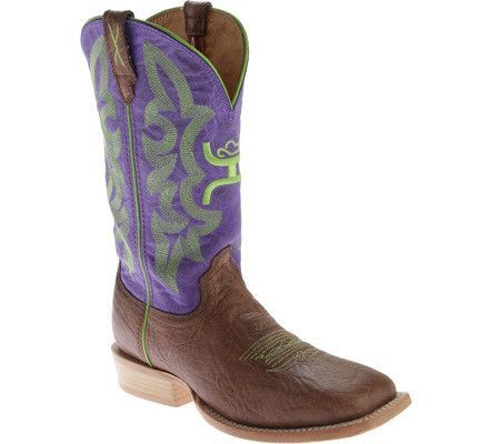 Twisted X Boots Womens Hooey NWS Toe Shoulder Brown/Purple