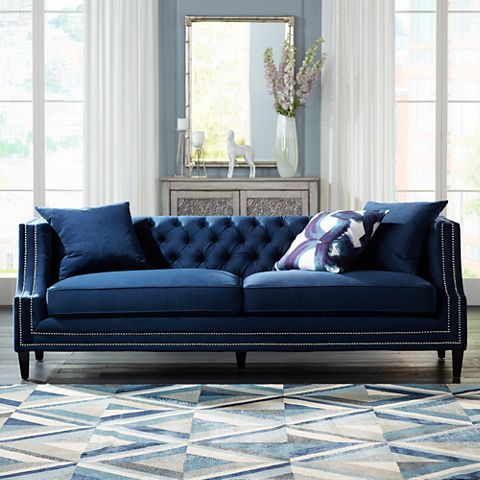 Marilyn 93 Quot Wide Blue Velvet Tufted Upholstered Sofa