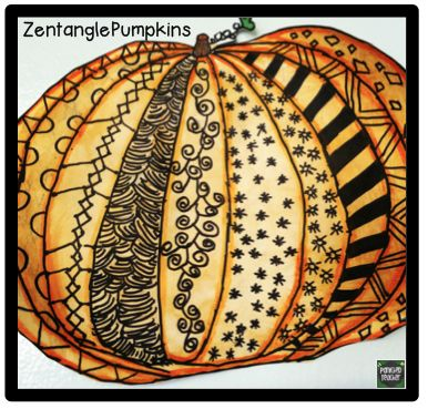 Zentangle Pumpkins! Perfect for Halloween! Students need a piece of paper, sharpie, pencil, and orange watercolor. That's it!!!!! Great for relaxation and creative expression!