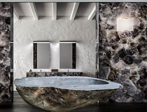 Madagascan Blue Rock Crystal | A Madagascan blue-grey celestite a precious rock crystal handcrafted into a magnificent rock bath. Blue-grey celestite being rare makes this large ... view details on www.treniq.com