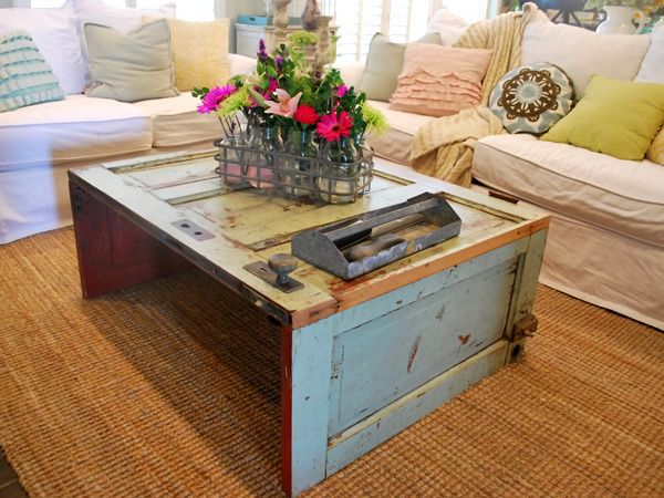Love the use of the old door to make a coffee table.