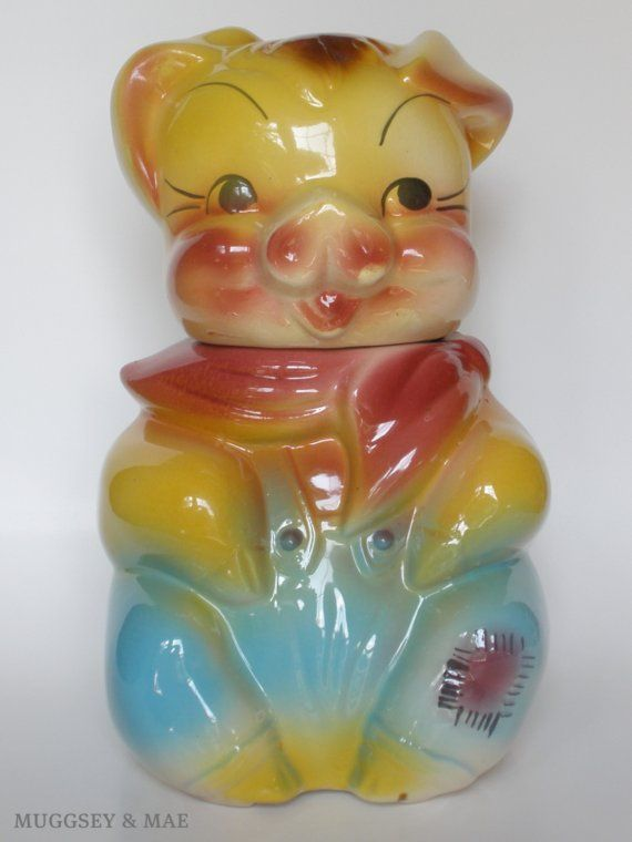 American Bisque Vintage Cookie Jar // Boy Pig. Here's the mate to my female cookie jar. Both given to me few yrs ago. LOVE