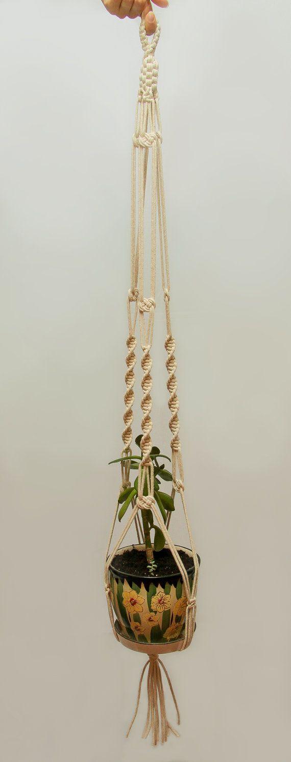 cotton hanging planter ceiling hanging plant pot 60 large macrame plant hanger suspension. Black Bedroom Furniture Sets. Home Design Ideas