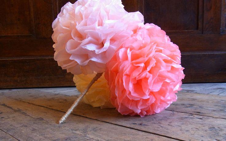 Alternatief bruidsboeket: maak 'n boeket van pompons