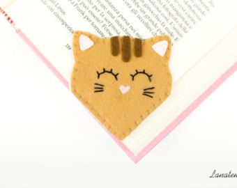 Pig felt bookmark handmade pink corner bookmark gift by Lanatema