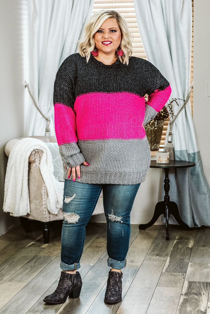 Curvy Looking Good top, Black/Pink Plus Size sweater 5