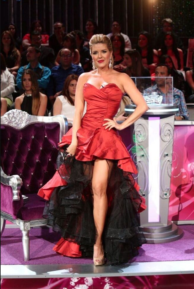 Alicia Machado, Miss Universe 1996. Red Taffeta, hig-low strapless with black tulle crinoline