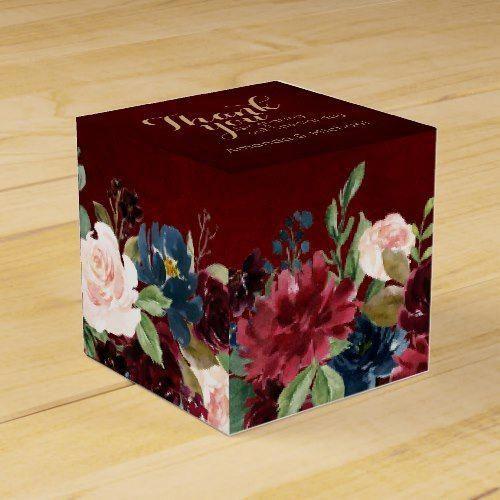Burgundy Red Navy Floral Rustic Boho Wedding Favor Box #candiedwedding