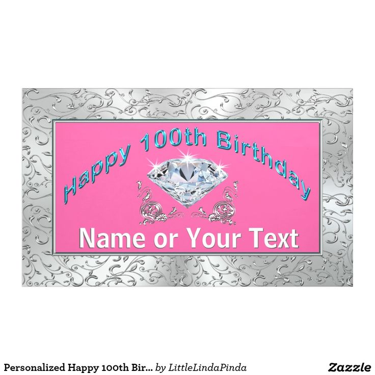 Personalized Happy 100th Birthday Banner in Your Color Background and Customizable. Type in her NAME or your Message.  CLICK: http://www.zazzle.com/pd/spp/pt-zazzle_banner?dz=967b7192-9400-4ab5-afe9-39546193568b&clone=true&pending=true&size=60x36&material=indoor_none&design.areas=%5Bzazzle_banner_60x36_horz_front%5D&view=113275346185223886&CMPN=shareicon&lang=en&social=true&rf=238147997806552929 Call Linda to create matching 100th birthday party supplies. Linda: 239-949-9090