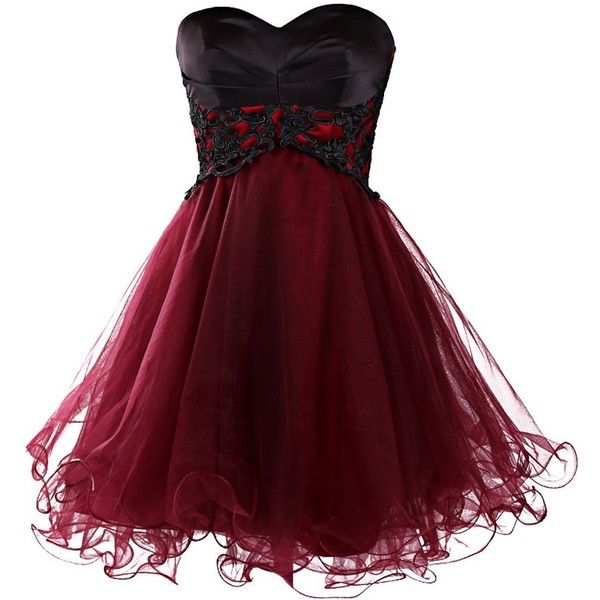 Dresstells Short Prom Dresses 2015 Homecoming Dress for Women found on Polyvore featuring polyvore, fashion, clothing, dresses, vestidos, short dresses, robes, prom dresses, short cocktail prom dresses and red homecoming dresses