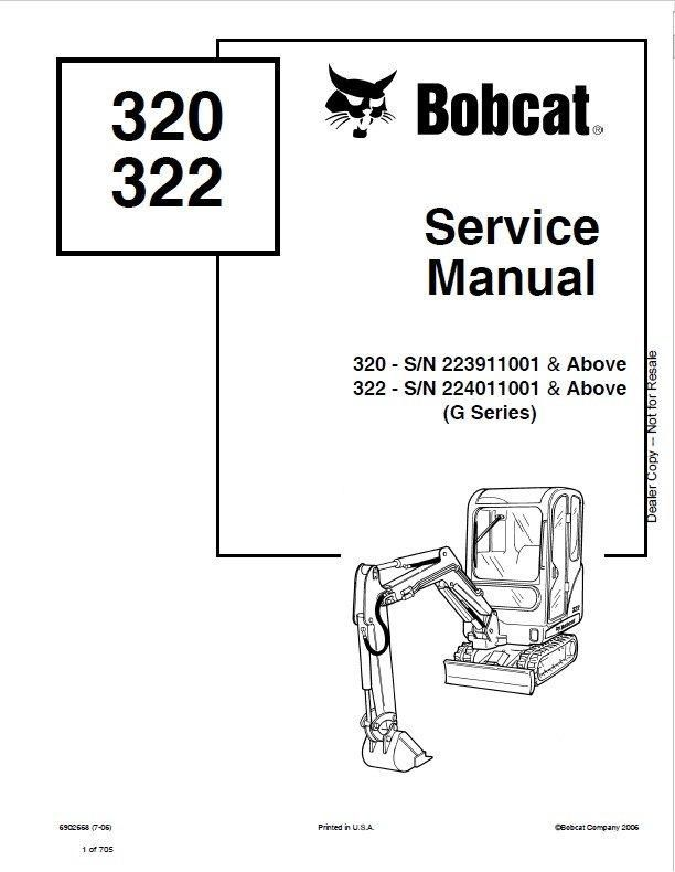 Bobcat 320, 322 Hydraulic Excavator (G Series) Service