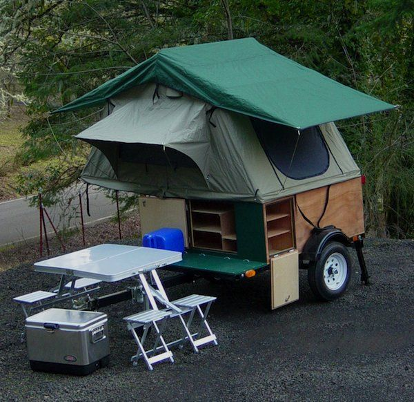 The Explorer Boxes are a hybrid of a teardrop trailers and easy to set up tent campers.