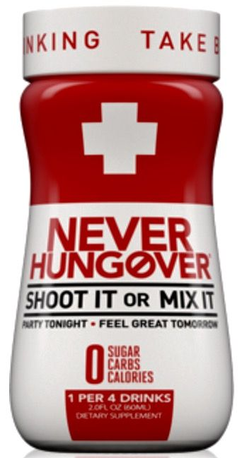 Never Hungover Dietary Supplement (Pack of 12) - 2 fl oz