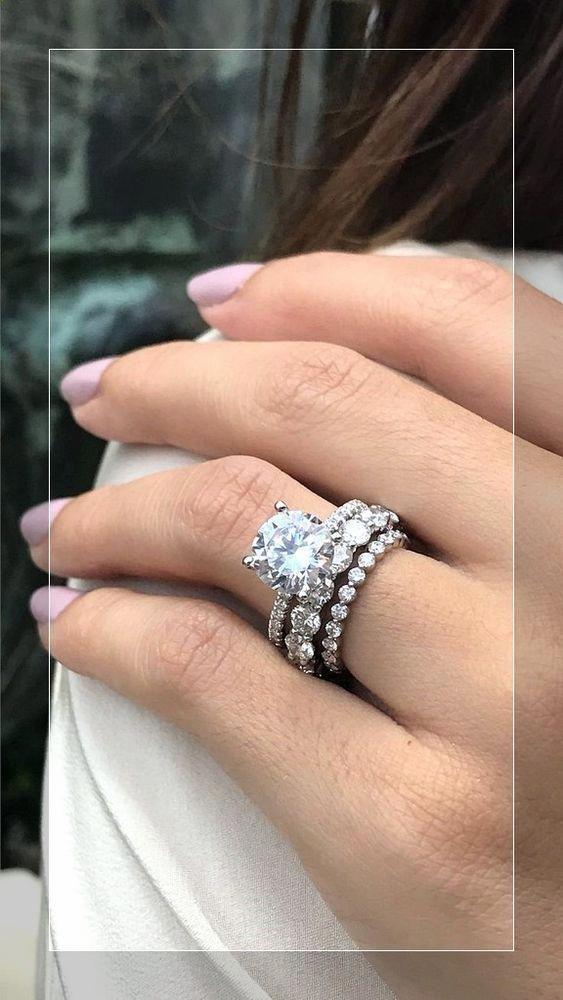 1 60ct Brilliant Moissanite Bridal Wedding Ring 2 Band Set 925