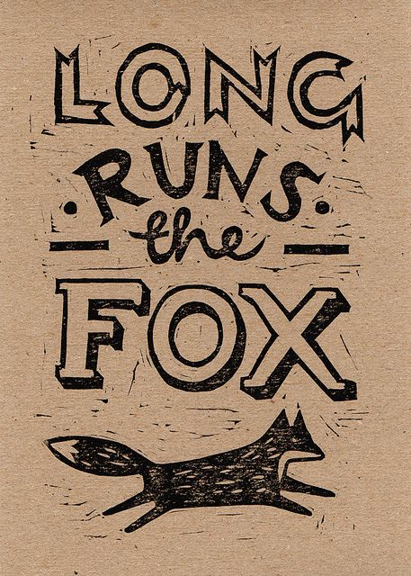 Fox proverb linocut by harrydrawspictures.