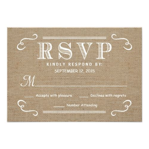 Burlap Wedding RSVP Cards RSVP Rustic Burlap Tan and White Wedding Reply Card