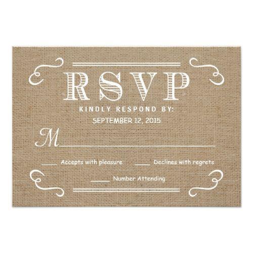 Burlap Wedding RSVP Cards RSVP Rustic Burlap Tan and White Wedding Reply Card