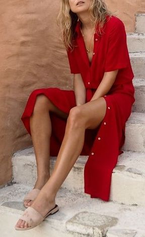Holiday chic with a long linen dress and mule sliders
