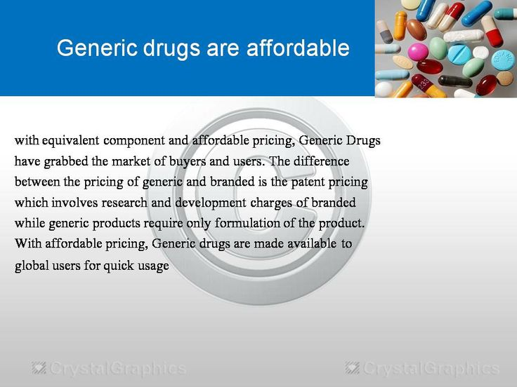 with equivalent component and affordable pricing, Generic Drugs have grabbed the market of buyers and users. The difference between the pricing of generic and branded is the patent pricing which involves research and development charges of branded while generic products require only formulation of the product. With affordable pricing, Generic drugs are made available to global users for quick usage.