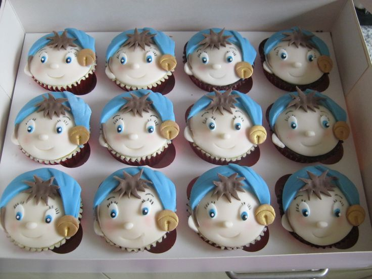 Noddy Cupcakes - Noddy cupcakes complete with red foil cases. Choc & Vanilla