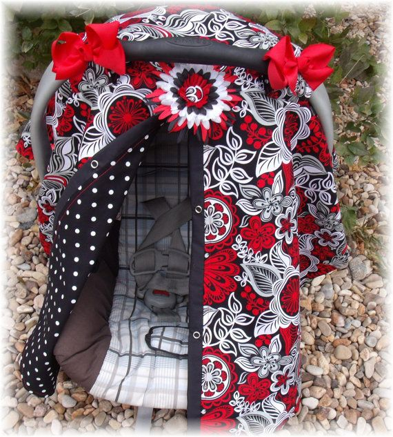 Carseat Canopy Cover Tent Blanket Hairbows And Flower Clip Red Diva Bloom