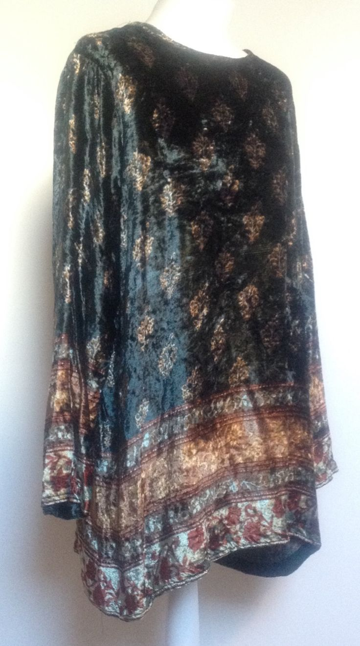 Vintage Velvet, Hippy boho, Tunic Top size 12 (uk) by MistyNoirVintage on Etsy