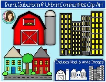Rural, Suburban & Urban Community Buildings Clip Art