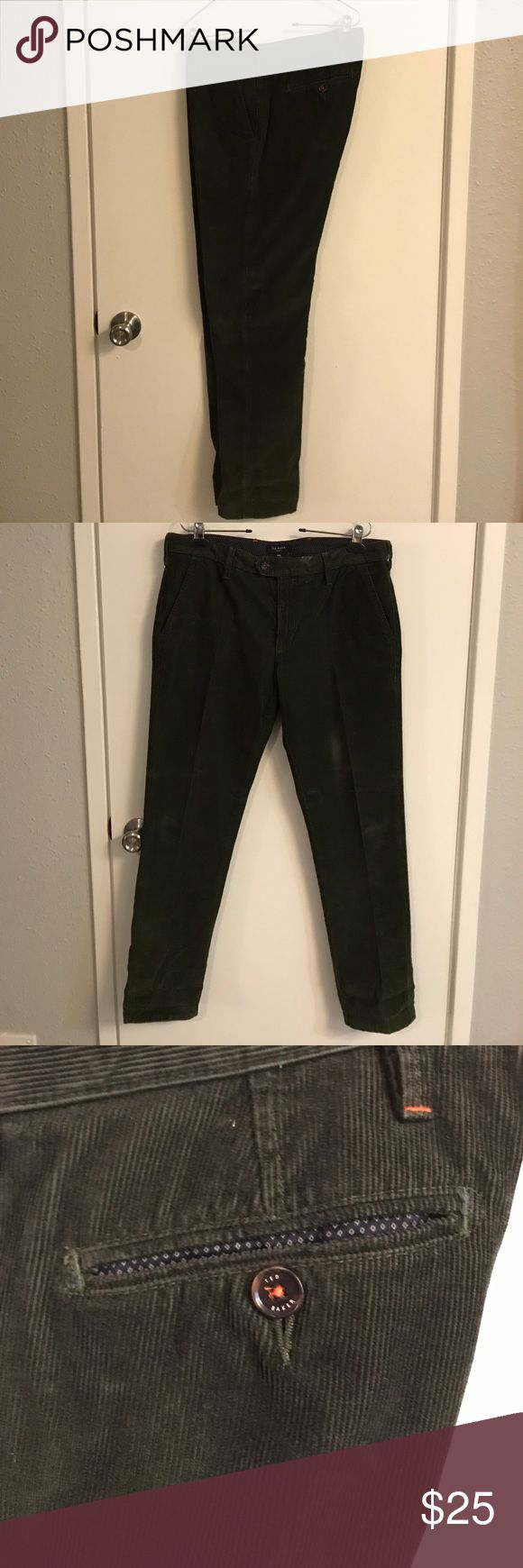 Ted Baker London slim fit cord trousers Slim fit cords in size 34R (34/32) with 7in leg opening (14in all the way around). Two button waist band and zipper fly. Ted Baker London Pants Chinos & Khakis