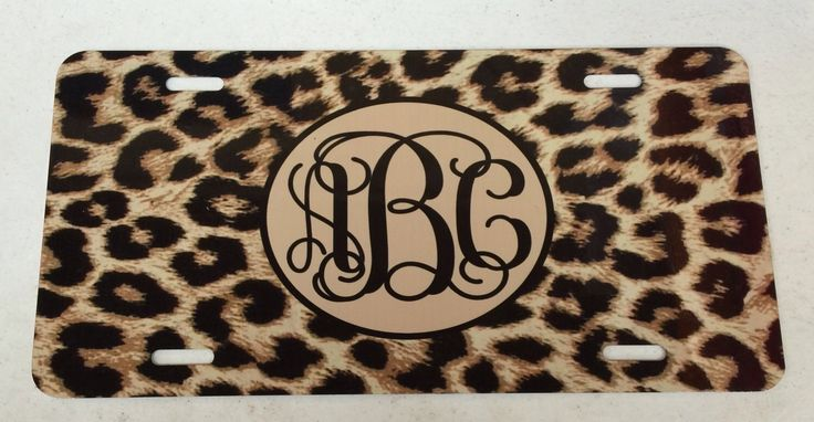 Black brown cheetah Monogram License Plate personalized black brown cheetah…
