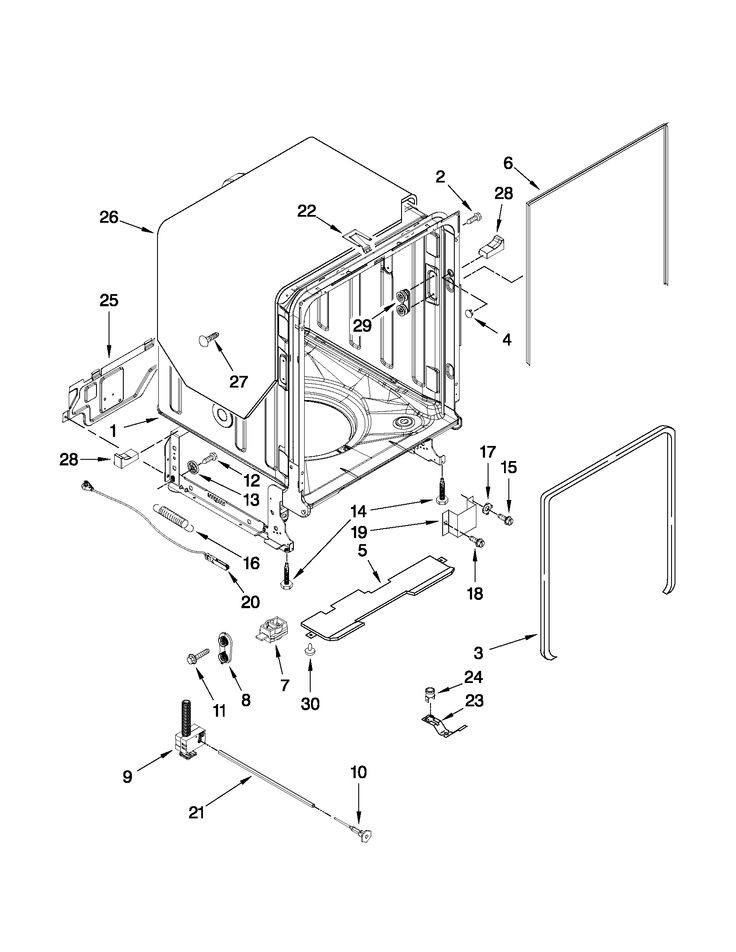 TUB AND FRAME PARTS Diagram & Parts List for Model