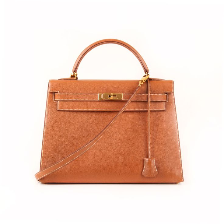 Kelly 32 Gold Epsom Leather.