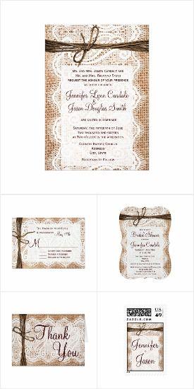 Burlap and Lace Wedding Invitation Set