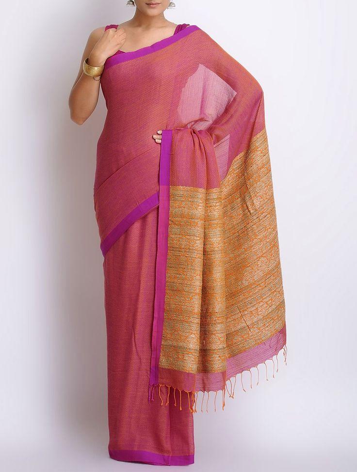 Fuschia Cotton Handwoven Saree on Jaypore.com