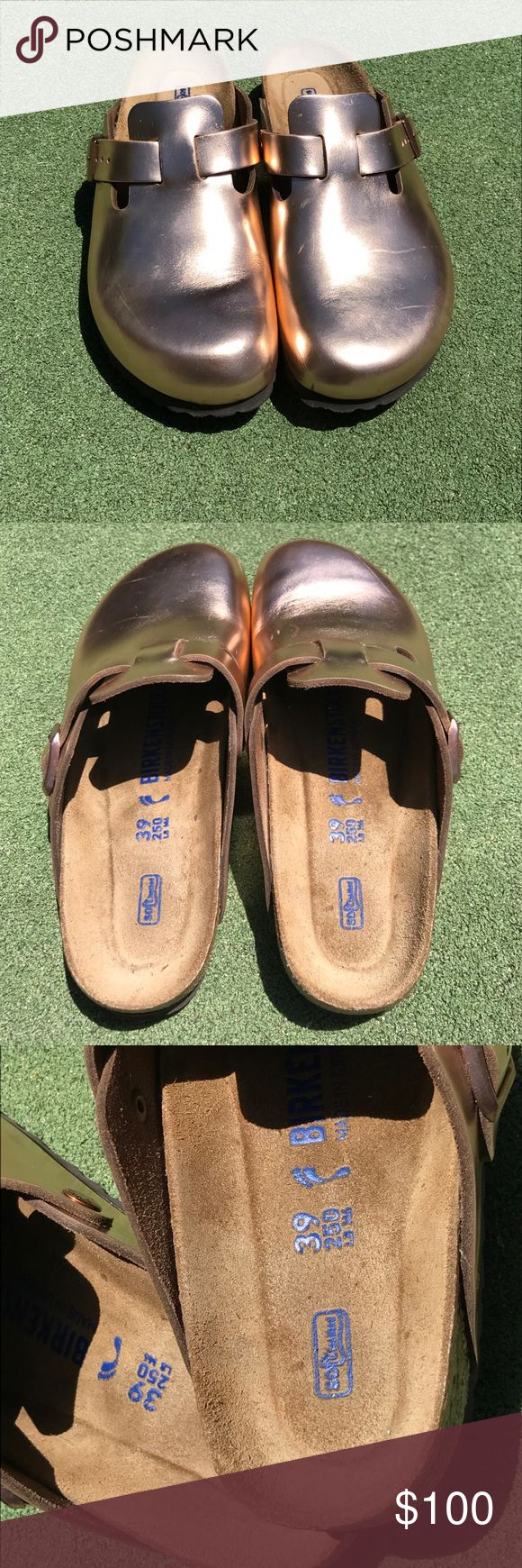 Birkenstock Boston Metallic Copper Soft Footbed 39 Birkenstock Boston Metallic Copper Soft Footbed.  These are leather uppers.  European size 39 or US size 8/8.5.  Refer to Birkenstock Size chart if you are unfamiliar with their shoes.  Worn once around house only.  Essentially brand new with minor scratching on toe area as seen in pictures.  Price reflects slight scratching.  !!!**NO TRADES**!!!  Price is Firm!  No offers please.  Use Buy It Now!  If you want a discount, make a bundle…