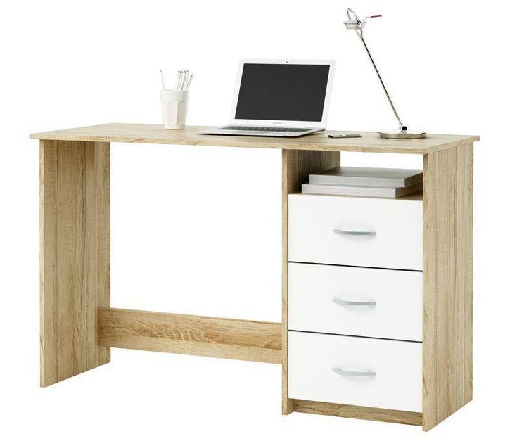 Aristote Skrivebord - Flot skrivebord i børstet egetræ som giver skrivebordet et naturligt træ-look. Skrivebordet har én praktisk åben hylde under bordpladen i højre side og 3 udtræksskuffer nedenunder. Skufferne har hvide fronter og flotte greb i metal. Der er mulighed for at trække ledninger igennem ved den åbne hylde, hvis man f.eks. ønsker at have mobilopladeren til at være der. Skrivebordet er den perfekte lille arbejdsstation til mindre rum, hvor kvadratmeterne skal udnyttes til fulde.