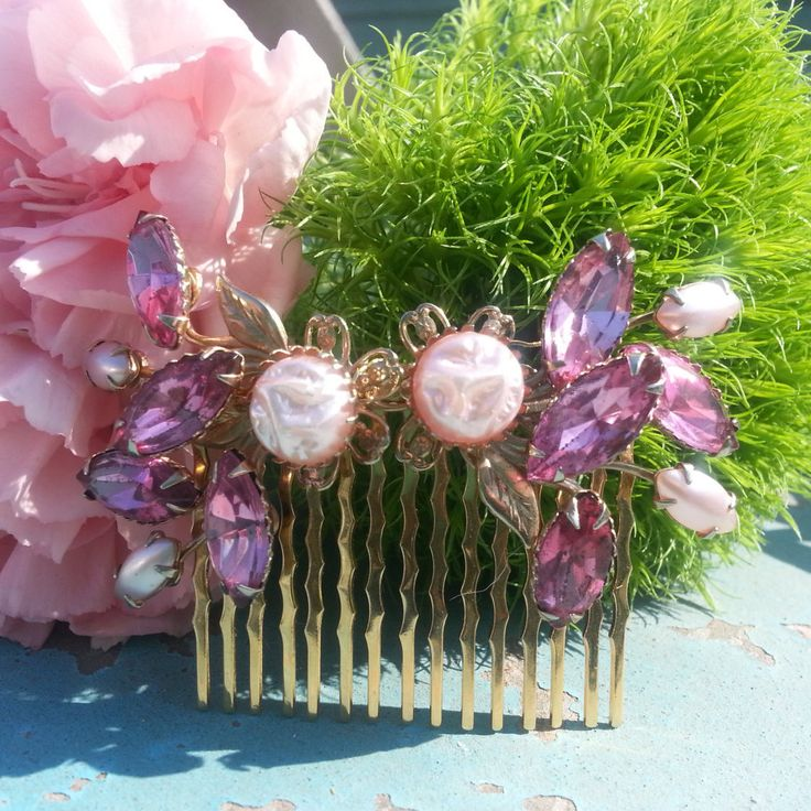 Blush Gold Bridal Hair Comb Pink Pearl  Rhinestone Hair Pin  Frosted Pearl Stones Jewels Mother of the Bride Flower Girl Prom Quinceanera by EmeraldGoldsVintage on Etsy